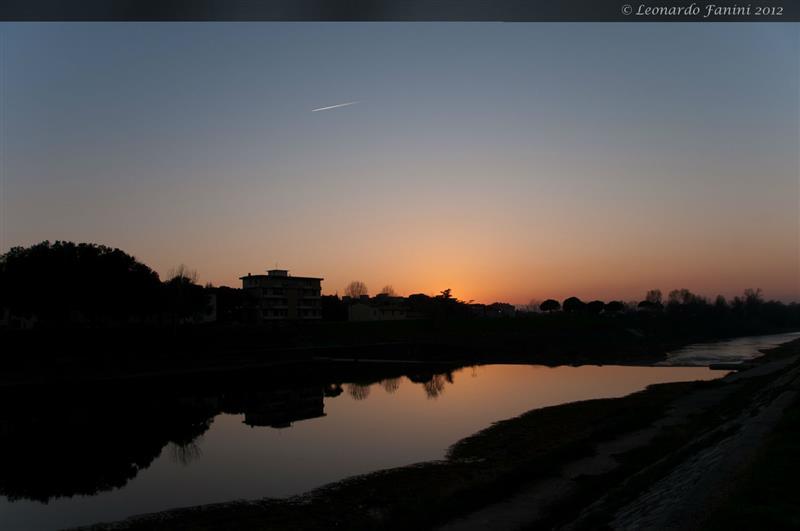 tramonto sulla Pescaia delle Cascine