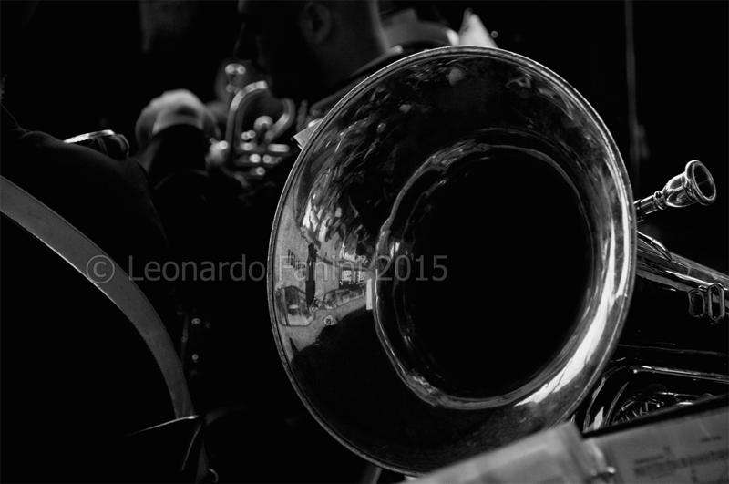 black and white fine art of a tuba in concert