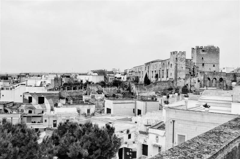 vista del castello di Grottaglie, black and white fine art