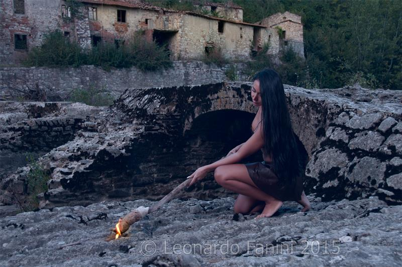 Ady Descarada wear a Leather handcrafted sexy dress and a torch