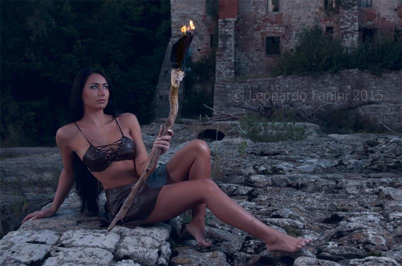 Ady descarada wearing my hand made sexy leather bra and a torch